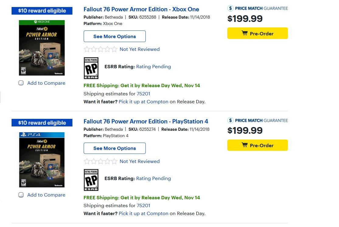 Cheap Ass Gamer On Twitter Pre Order Fallout 76 Power Armor
