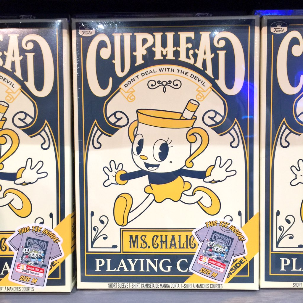Check out our #E3 exclusive Ms. Chalice Tee with playing card packaging! #FunkoE3 #GameStopE3 #Cuphead