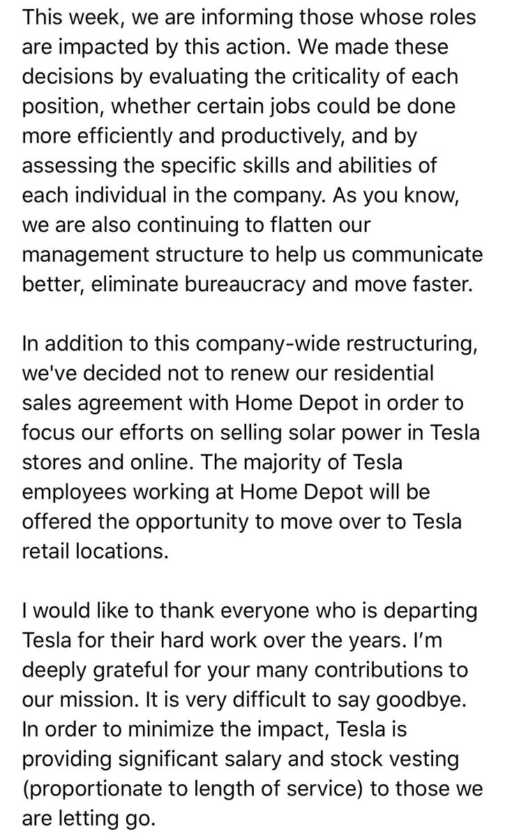 Difficult, but necessary Tesla reorg underway. My email to the company has already leaked to media. Here it is unfiltered: