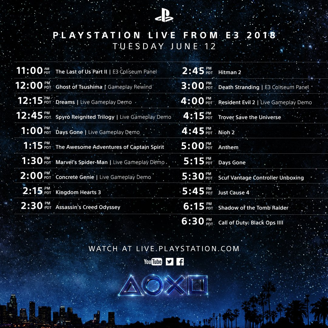 We're broadcasting live from E3 all day long! Watch every minute at https://t.co/6WGSKHicJz #PlayStationE3 https://t.co/0JKSOVc7Tr