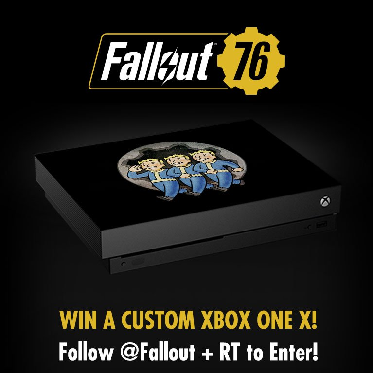 Follow + RT to enter! Celebrate #E32018 by entering to win a custom #Fallout76 Xbox One X!  Official Rules: https://beth.games/2Jj1WPA