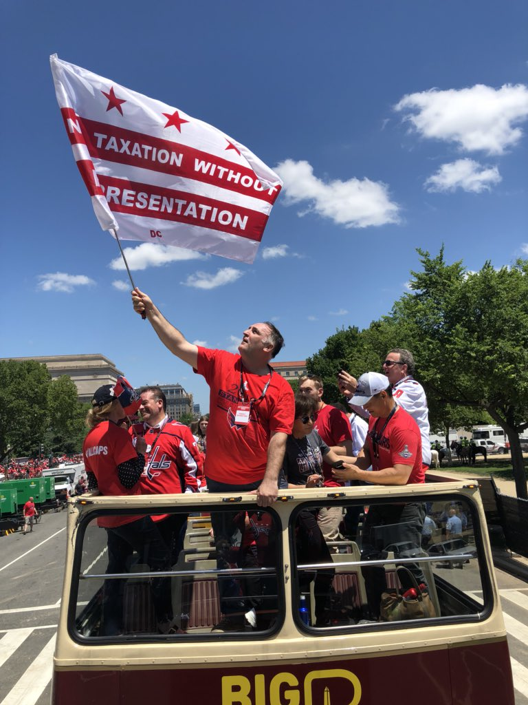I was happy to share my 'No Taxation Without Representation' flag with @chefjoseandres during today's #ALLCAPS  Parade! You know, #dcflagday is right around the corner... <br>http://pic.twitter.com/pYaCk6Zgeb