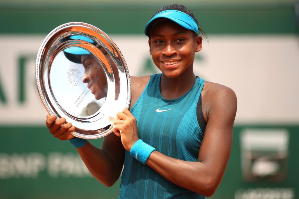 """Congrats to tennis star Cori """"Coco"""" Gauff who just, at 14 years old, made history as the youngest woman in 24 years to win a junior title at the French Open"""