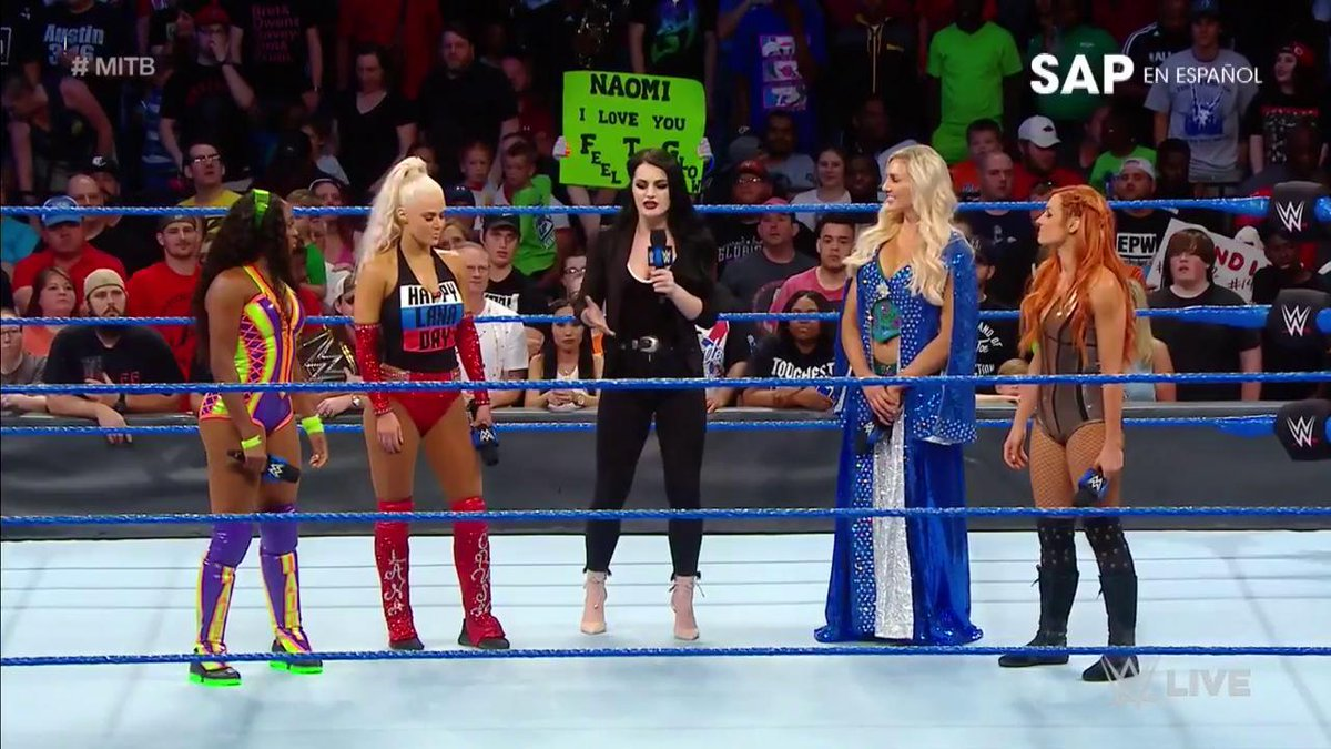 Will one of these women bring the Womens #MITB contract to @RealPaigeWWEs HOUSE #SDLive?!? @NaomiWWE @LanaWWE @MsCharlotteWWE @BeckyLynchWWE