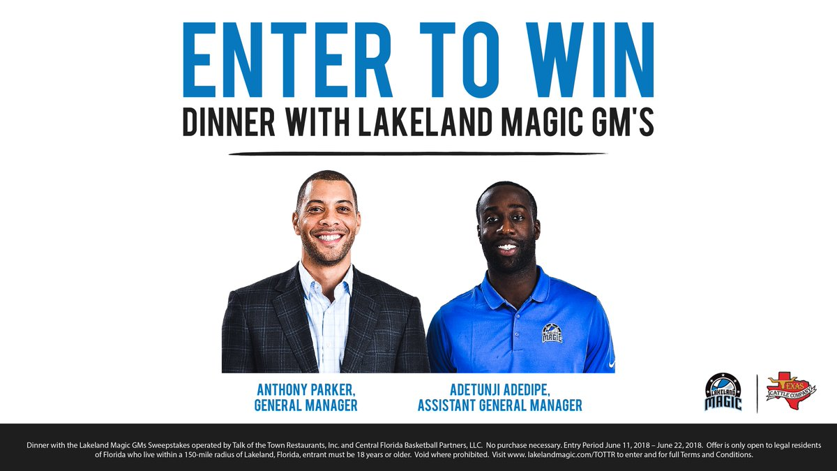 ENTER TO WIN Dinner with Lakeland Magic GM, Anthony Parker and Assistant GM, Adetunji Adedipe at @TexasCattleCo - Lakeland. ➡️ bit.ly/2JL76Y1