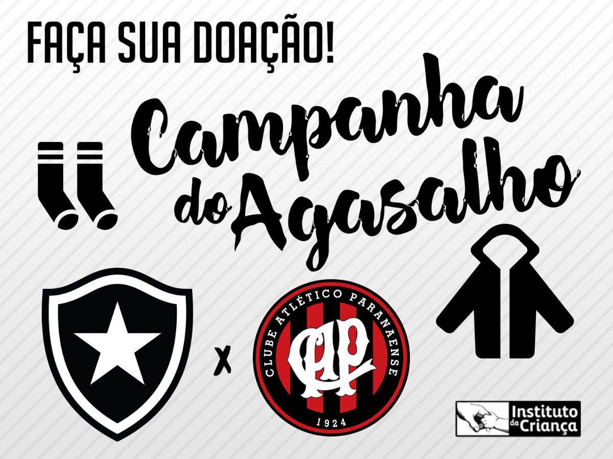 Haverá postos de coleta no acesso a todos os setores no jogo desta quarta  entre Botafogo e Atlético-PR. Receberemos doação de agasalhos 1bc4077ab0582