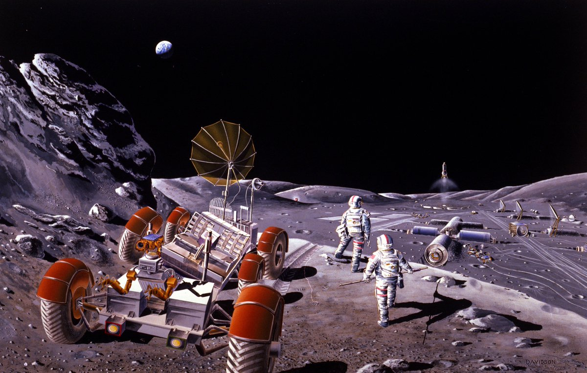 Future humans on the Moon, illustrated by Dennis Davidson in 1986 NASA concept art. #space