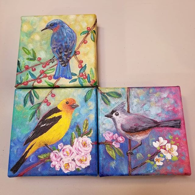 Songbird Mini Canvas Acrylicpainting Series Free Painting Tutorials Weekly On YouTube By Angela Anderson Greytuftedtitmouse Fredrixcanvas