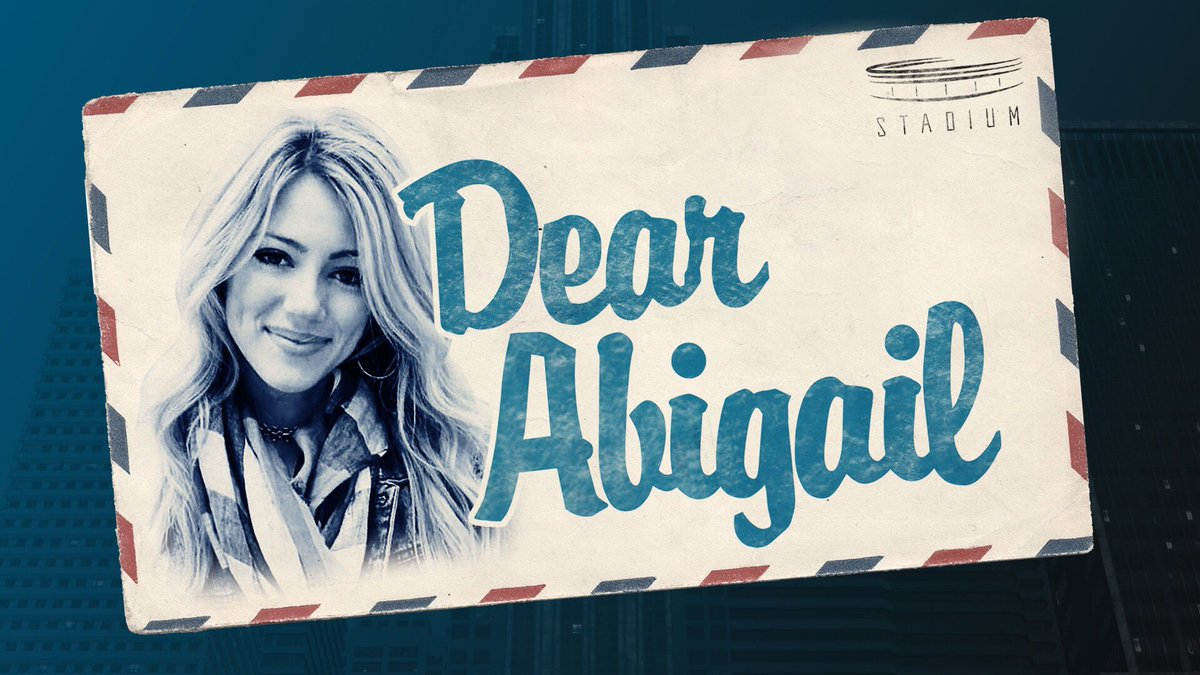 Tweet me (*or send via carrier pigeon) ANY question you have for me and I'll answer the best ones on Wednesday on #DearAbigail on @WatchStadium @SauceAndShram!