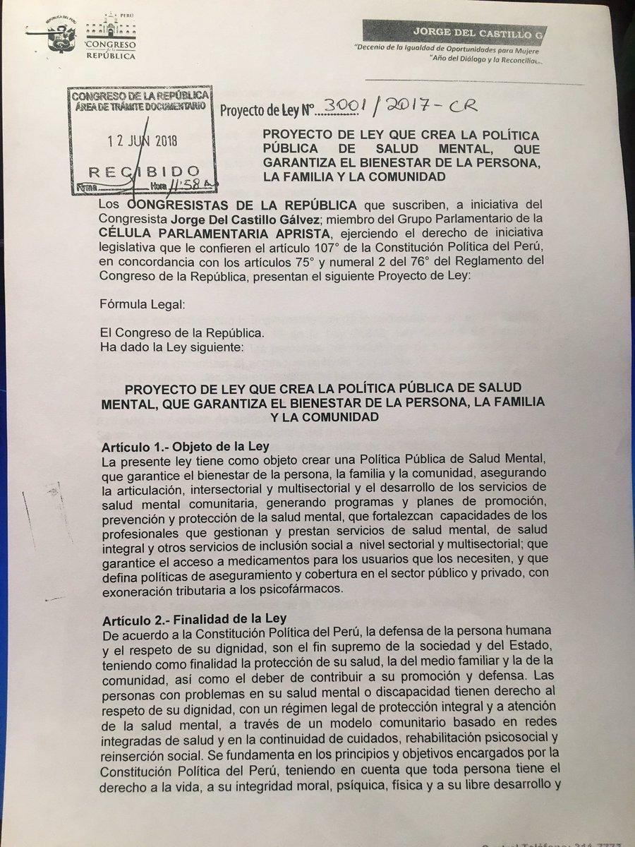 Hoy ingresó el P/L 3001 de la CPA de Salud Mental que garantiza el Bienestar de la Persona, la Familia y la Comunidad. Fue elaborada con la asesoría de importantes profesionales y cuenta con el respaldo del @Minsa_Peru y la @OPSOMSPeru  Adjuntamos ley y resumen.