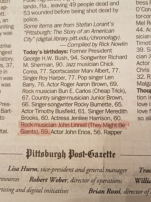 happy birthday to John Linnell! The Pittsburgh Post-Gazette recognizes and celebrates YOU! And so do I.