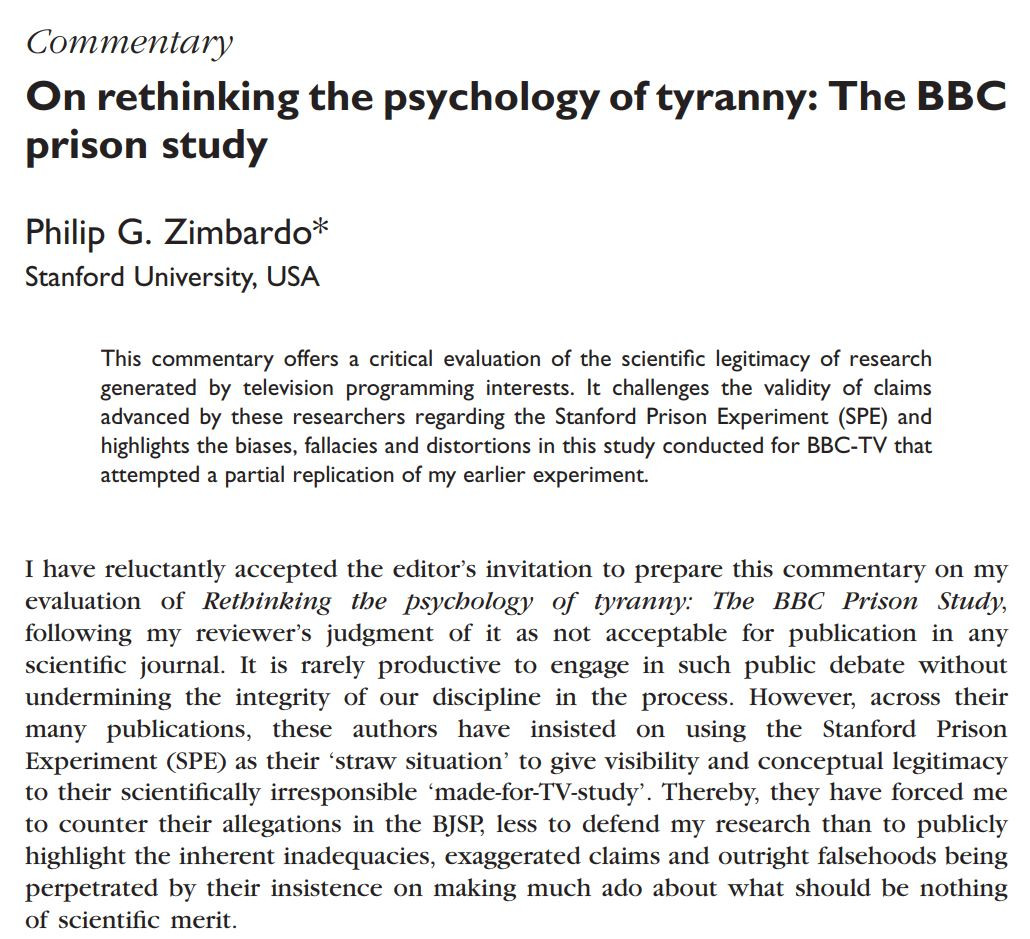 explain the impact of the stanford prison experiment on psychology and behaviour essay Both the stanford prison experiment (spe) and the bbc-prison study (bbc-ps) demonstrate the importance of social influence processes as determinants of human behaviour behaviour is not purely the product of genetics or brain architecture.