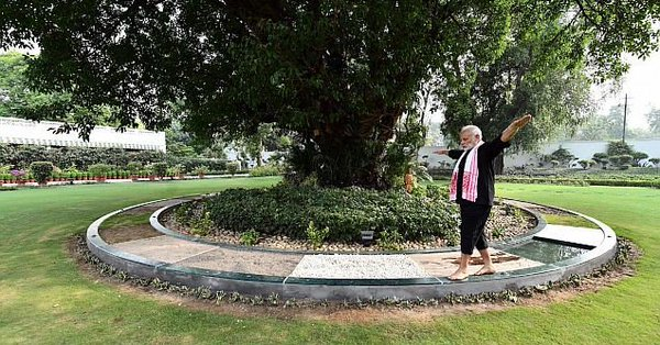 PM walks on Panchtatva theme walking track at his resident; shares video online