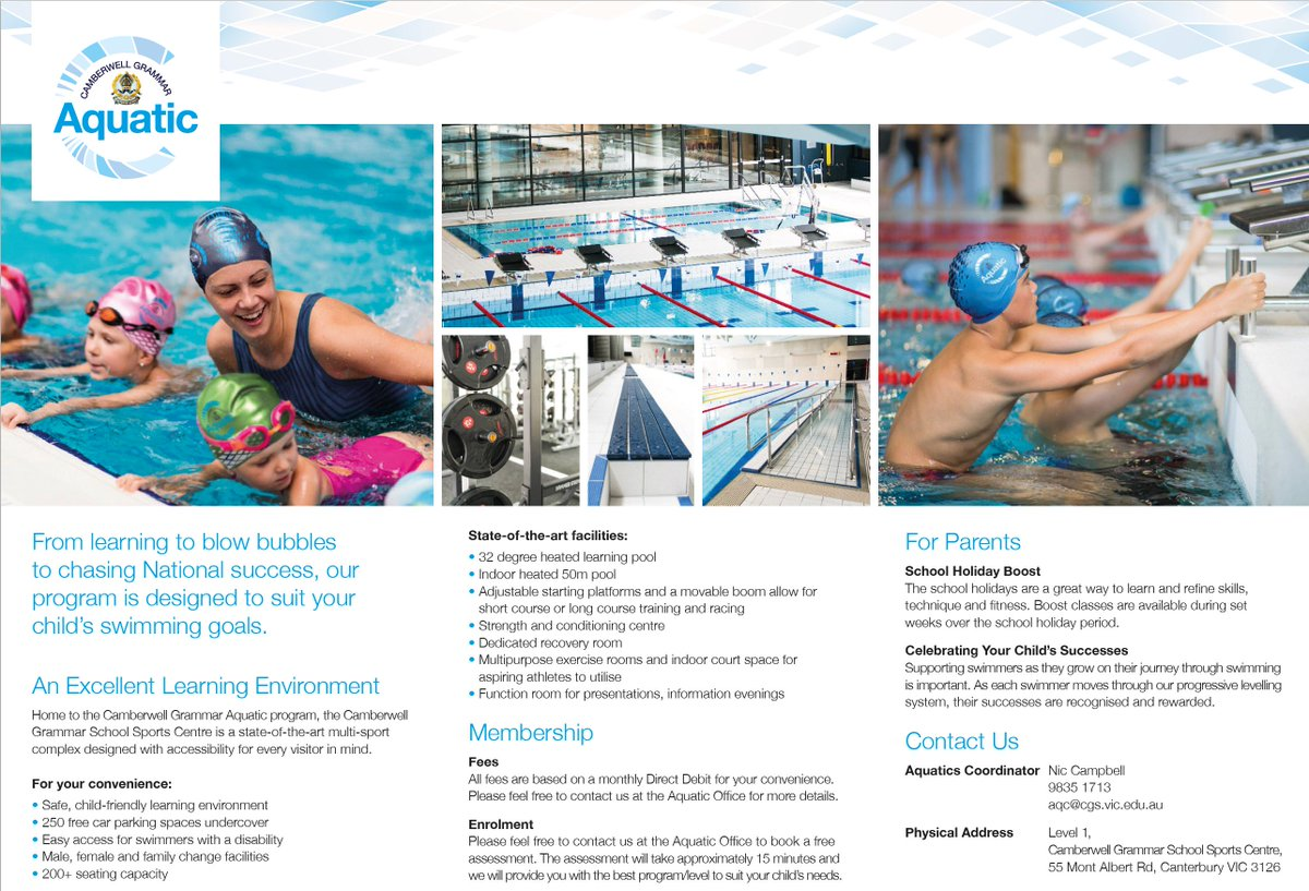 Camberwell Grammar Aquatic Provides Learn To Swim Lessons For Children Aged Four And Above As Well Squad Programs All Levels Abilities