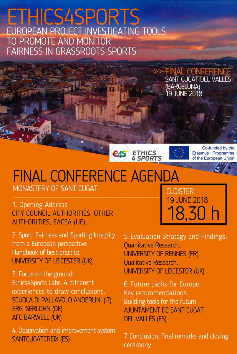FINAL CONFERENCE @Ethics4Sports in Monastery of #SantCugat #Barcelona 19 JUNE 2018 EUROPEAN PROJECT INVESTIGATING TOOLS  TO PROMOTE AND MONITOR FAIRNESS IN GRASSROOTS SPORTS with @UnivRennes_2 @LeicesterDICE @SdPAnderlini @AFCBarwell #iserlohn @ajsantcugat @EuSport @esportcat<br>http://pic.twitter.com/Upk5CfnBcv