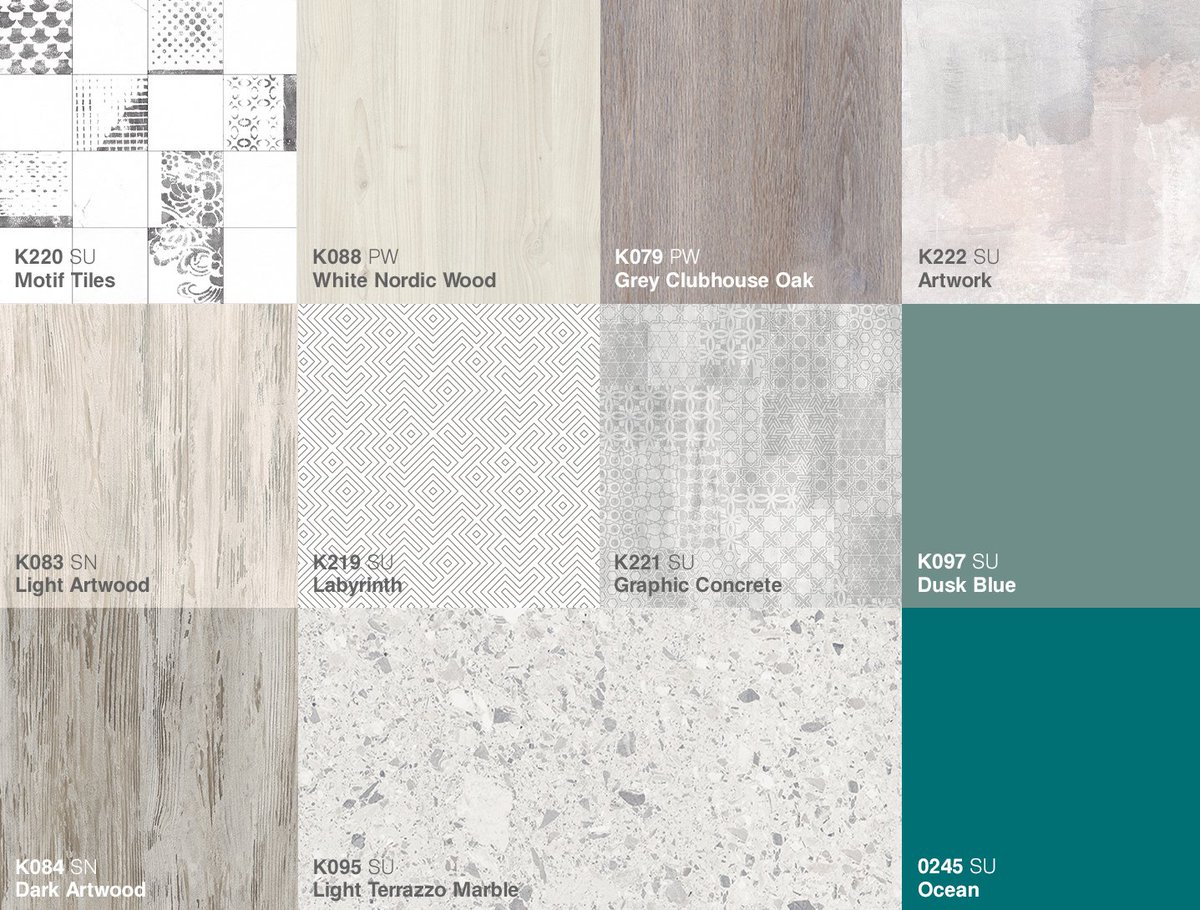 Discover the delightful interplay of earthy, grey woods, geometric patterns and #industrial-inspired slate and steel decors at: https://t.co/55ATxqNpPS  #Kronospan #Kronodesign #Trends1819 #IndustrialDesign #IndustrialStyle #Functionality #Concrete #Melamine #MFPB #Worktops https://t.co/CfLsFAs94z