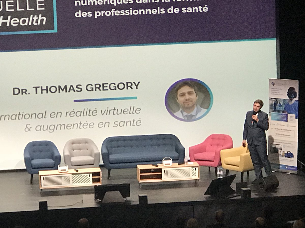 #SFHConf2018 Dr Thomas Grégory in digital tech to train #HCPs #AR #VR and accompany them in their practice @SimforHealthW<br>http://pic.twitter.com/GwPUwOrCiC