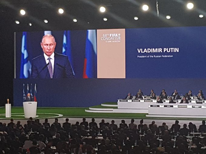 Coffee break can wait, FIFA smartly decides, as Russian President Vladimir Putin arrives. Putin welcomes the world to Russia and says sports is beyond  After five minute speech, time for 30 minute break. Then on to vote for 2026 World Cup. Photo