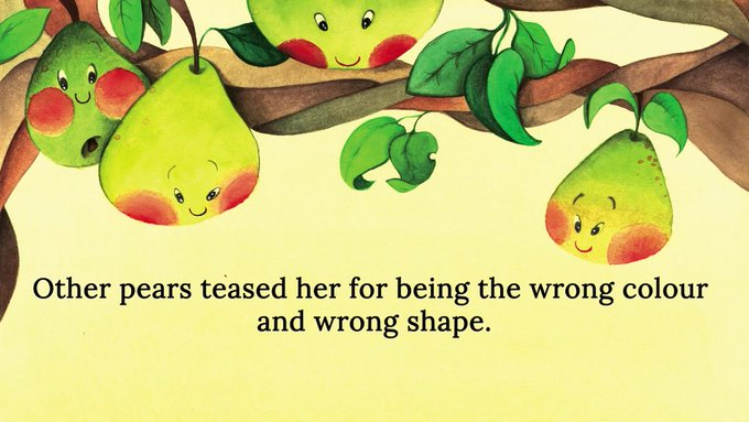 #StandUpToBullying :Portia the Pear was lonely. Other pears teased her for being the wrong colour and wrong shape. Portia The Pear introduces the theme of bullying and friendship in this beautifully illustrated children's picture book Photo