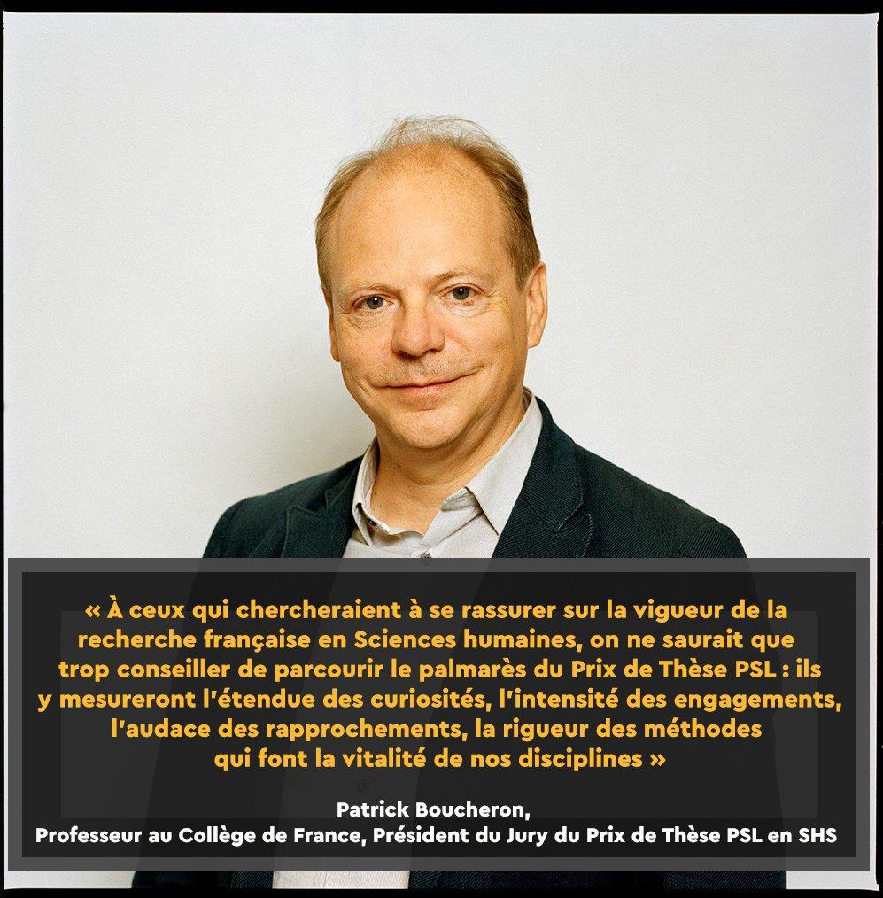 Patrick Boucheron, Professeur au @cdf1530 & Président du Jury du #PrixdeThesePSL en SHS, ouvrira la soirée de remise de Prix avec la conférence « Les sciences humaines et leur visée de vérité ».Infos et Inscriptions (Obligatoire) : https://bit.ly/2H80vSj  #SHS  - FestivalFocus