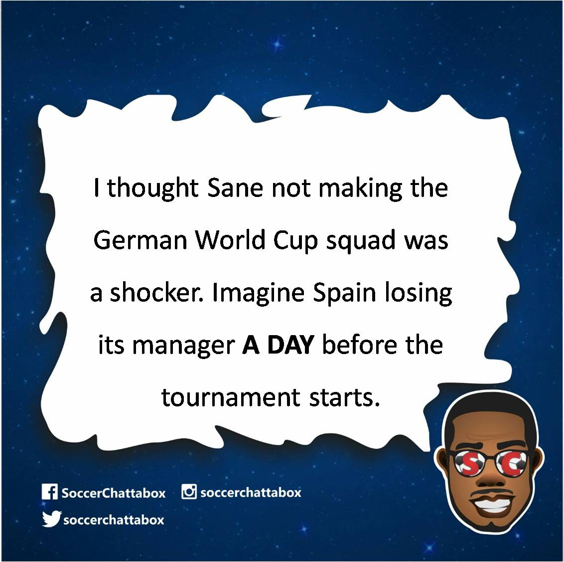 #SCThoughts LOL...What? Because he got the Madrid job? He starts that one in July!!! How is this not catastrophic? #Spain #Madrid #RealMadrid  #WorldCup  #FIFA #FIFAWorldCup #Russia2018 #FIFAWorldCup2018 #WorldCup2018 #Lopetegui #JulenLopetegui #Hierro<br>http://pic.twitter.com/2SicLBR4JF
