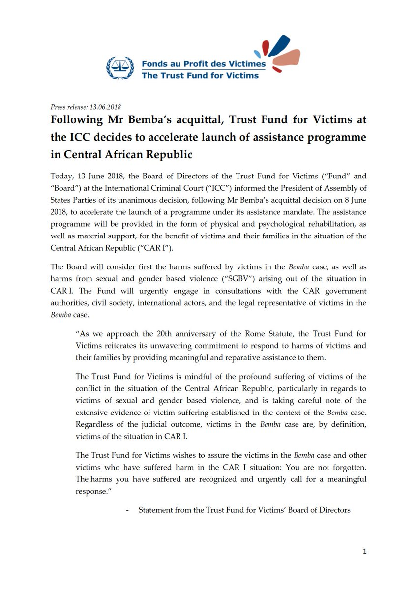 "trustfundforvictims on twitter: ""in the wake of the icc's #bemba"