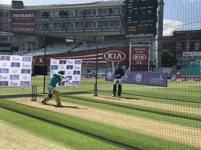 Travis Head, fresh off a 💯 at Lord's, is first into the nets #ENGvAUS Photo