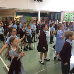 Year 4 enjoying working with Lesley, Basildon Youth Theatre!