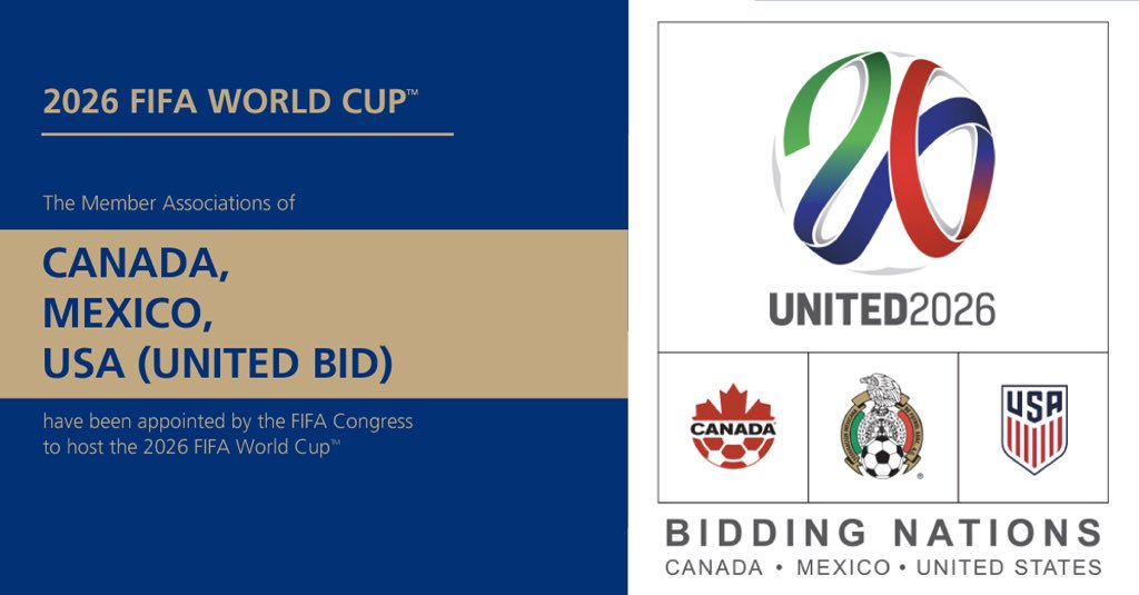 CONFIRMED   134 votes for @United2026 65 votes for  @Morocco2026_EN 1 vote for 'None of the bids'  2026 @FIFAWorldCup will be hosted by @united2026 🏆⚽️