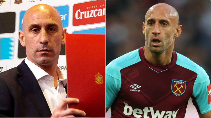 Anyone else? Or just me? Spanish Football Federation boss Luis Rubiales and Pablo Zabaleta. I see the same man. #Lopetegui #WorldCup  #WHUFC<br>http://pic.twitter.com/RZ5W5tblg7