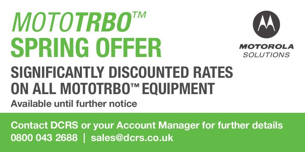 #MOTOTRBO Spring Offer - Discounts available across the whole portfolio  - Contact us today for a quote 0800 043 2688   sales@dcrs.co.uk   Chat live https://t.co/ZXIdN4ig9L  #specialoffer #godigital #twowayradio #heretosupportyou