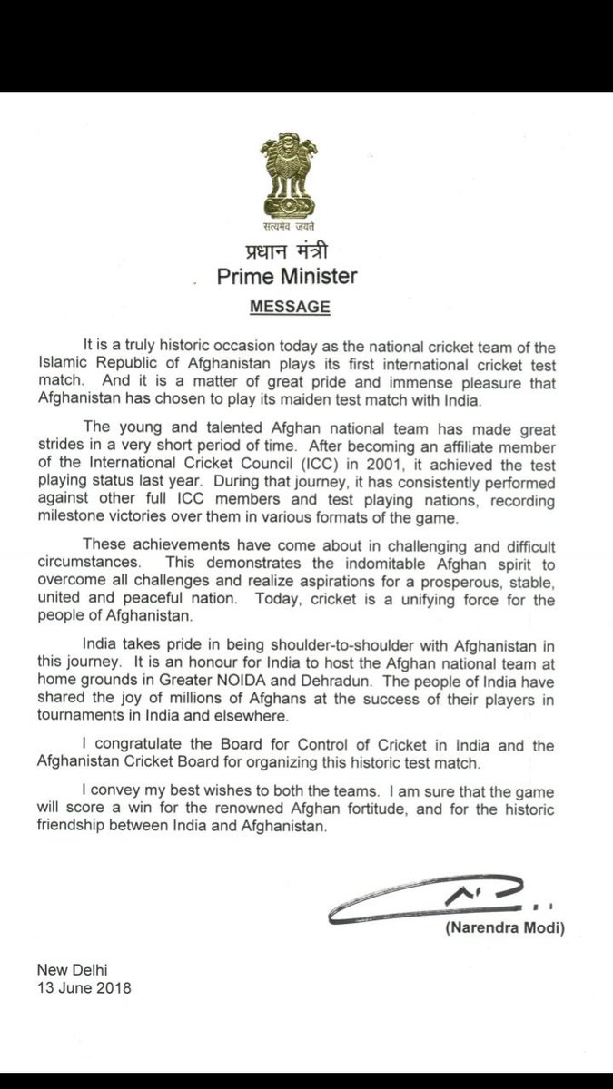 Special message from @PMOIndia on the occasion of the historic debut of #Afghanistan @ACBofficials in the test arena against @BCCI tomorrow at #Bengaluru. #INDvsAFG @BCCISportsTv #Cricket