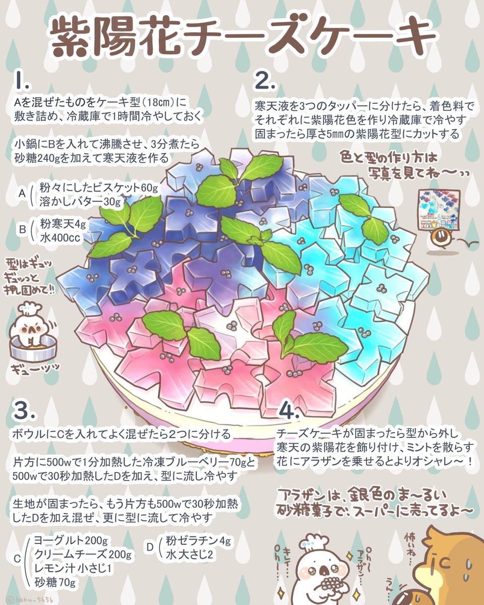 紫陽花チーズケーキのレシピをまとめました!!!   ٩( OO )۶ …oO((寒天液は、赤薄紫、青薄紫、水色の3色を作るとうまくいくよ!色を作るときに透明の寒天液を入れてグラデーションを作っても綺麗!