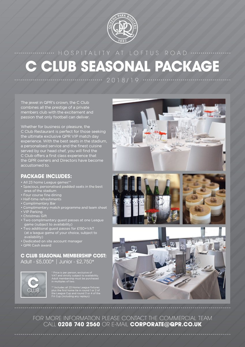 qpr fc on twitter hospitality for qpr s 2018 19 season is now