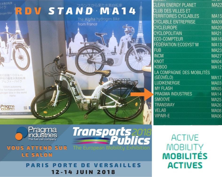 @PragmaFuelCells est au Salon Européen @Transp_Publics qui se tient @Paris  du 12 au 14 juin Porte de Versailles. Venez nous rencontrer stand MA14, secteur Mobilités Actives.♻️ Le vélo à hydrogène Alpha est la solution d'#ecomobilite pour les collectivités. #veloHydrogene