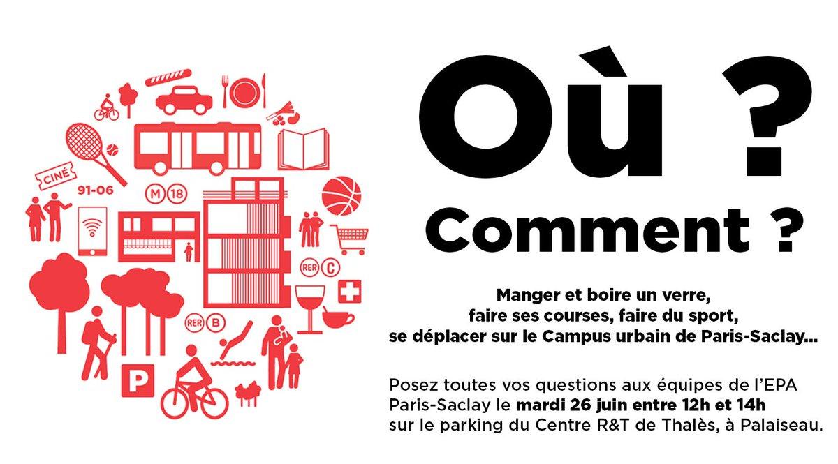🗓Nouveau rdv avec notre @protobus le mardi 26.06 sur le parking du Centre R&T de Thalès de 12h à 14h ! Venez poser vos questions sur le projet #ParisSaclay, nos équipes seront sur place pour répondre à toutes vos interrogations ! 🍽🍹🏃🏻♂️⚽🏀🚌… ➡ bit.ly/2HL1fNA https://t.co/bq77hDBm90