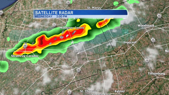 Severe thunderstorm WARNING for London. Strong wind gusts, hail, and heay rain. Communities in the path include :London, Woodstock, Strathroy, Ingersoll, Mount Brydges, Komoka, Dorchester, Innerkip, Ayr and Paris. @CTVLondon #ONStorm Photo