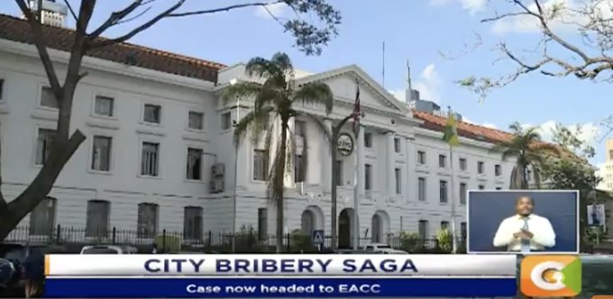 Bribery claims rock Nairobi county gov't. MCAs 'were promised bribe to okay medical scheme' MCA caught on tape lamenting unmet bribe promise. Case seeking tender cancellation thrown out #JKLive Photo