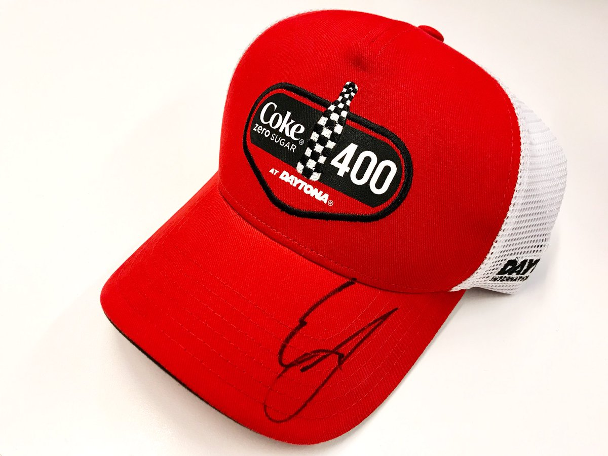We've had an awesome day with @erik_jones promoting the #CokeZeroSugar400!  RETWEET for your chance to win this hat autographed by Erik! We'll pick a random winner tomorrow at 4:00 pm ET!