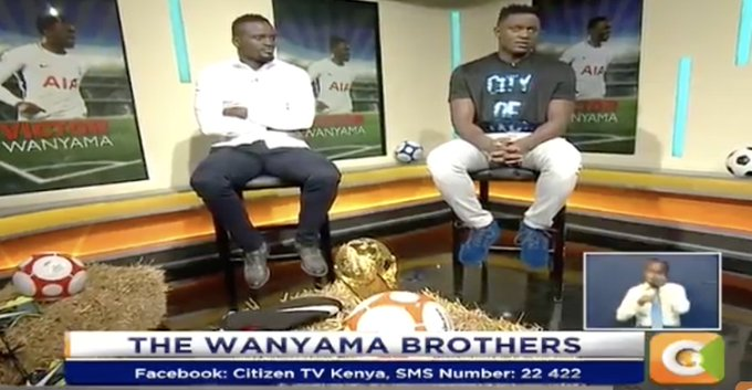 The Wanyama brothers already here! Jeff Koinange: How is it playing in Wembley? Victor Wanyama: It is tough; it is a big pitch- our style of playing is pressing so we had to adjust first #JKLive Photo