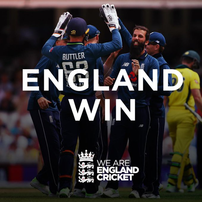 GET IN! We win by 3 wickets and take a 1-0 lead in the series!! 🙌 Scorecard/Clips: #ENGvAUS Photo