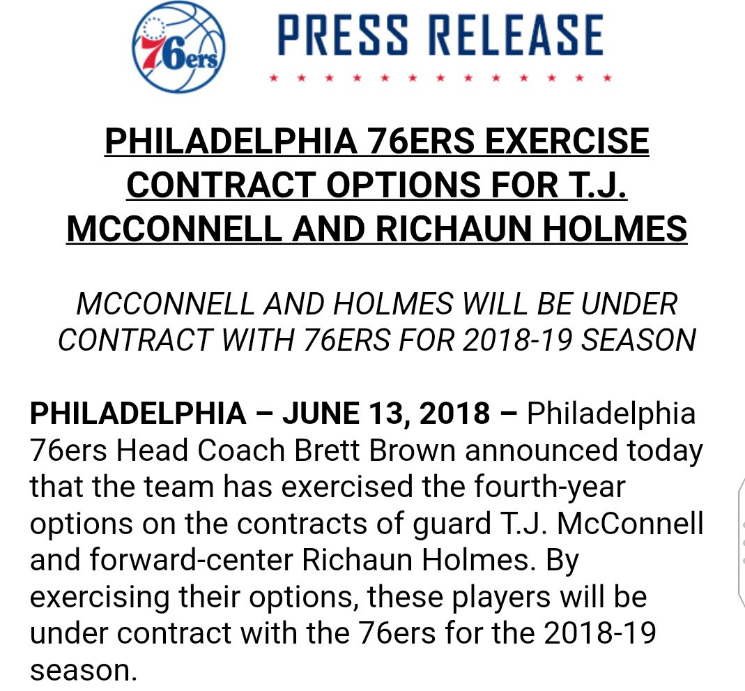 1997cbeb4180  Sixers announce they ve exercised the 2018-19 options on T.J. McConnell  and Richaun Holmes. https   t.co a5BZ4amGAr