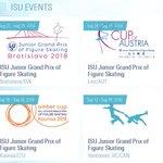 Image for the Tweet beginning: ISU公式サイト・フィギュアスケートのTOPページの「ISU EVENTS」のところ、JGPハルビンだったところが早速バンクーバーに差し替わっとるな(右下)。