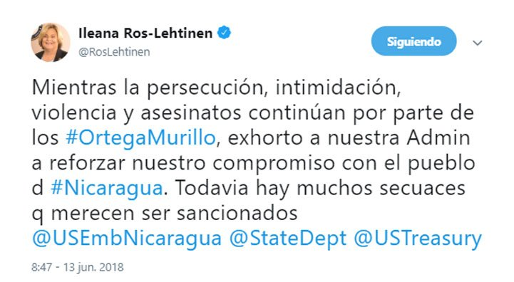 Ileana Ros-Lehtinen: 'Mientras la persecución, intimidación, violencia y asesinatos continúan por parte de los Ortega-Murillo, exhorto a nuestra Administración a reforzar nuestro compromiso con el pueblo de #Nicaragua. Todavía hay muchos secuaces que merecen ser sancionados'.