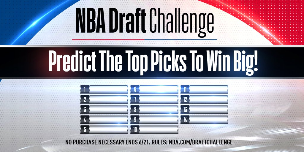 Can you predict the Lottery? Play the brand-new @NBADraft Challenge now! on.nba.com/2JNSF5C