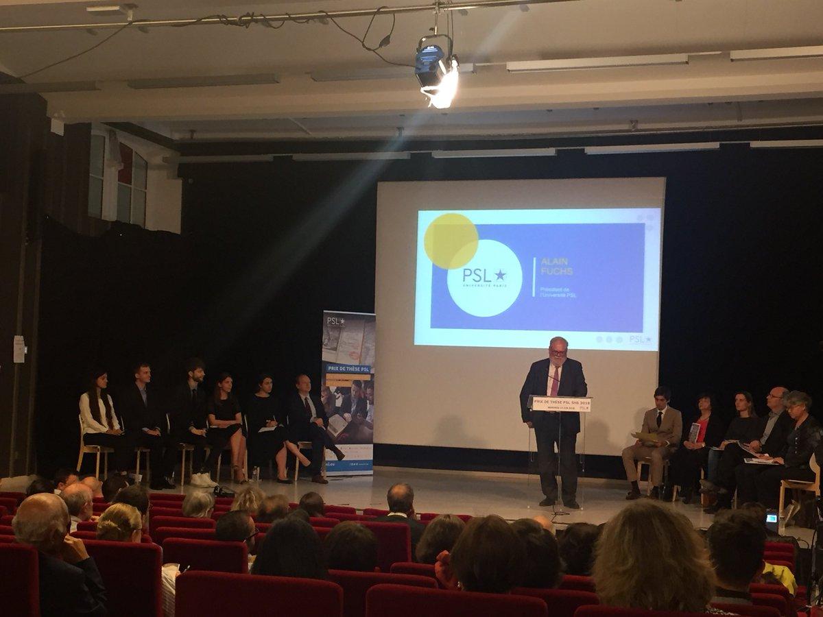 #PrixdeThesePSL Alain Fuchs, président de @psl_univ félicite les lauréats et exprime sa fierté devant cette nouvelle génération de docteurs qui transmettront leur savoir aux générations futures.  - FestivalFocus