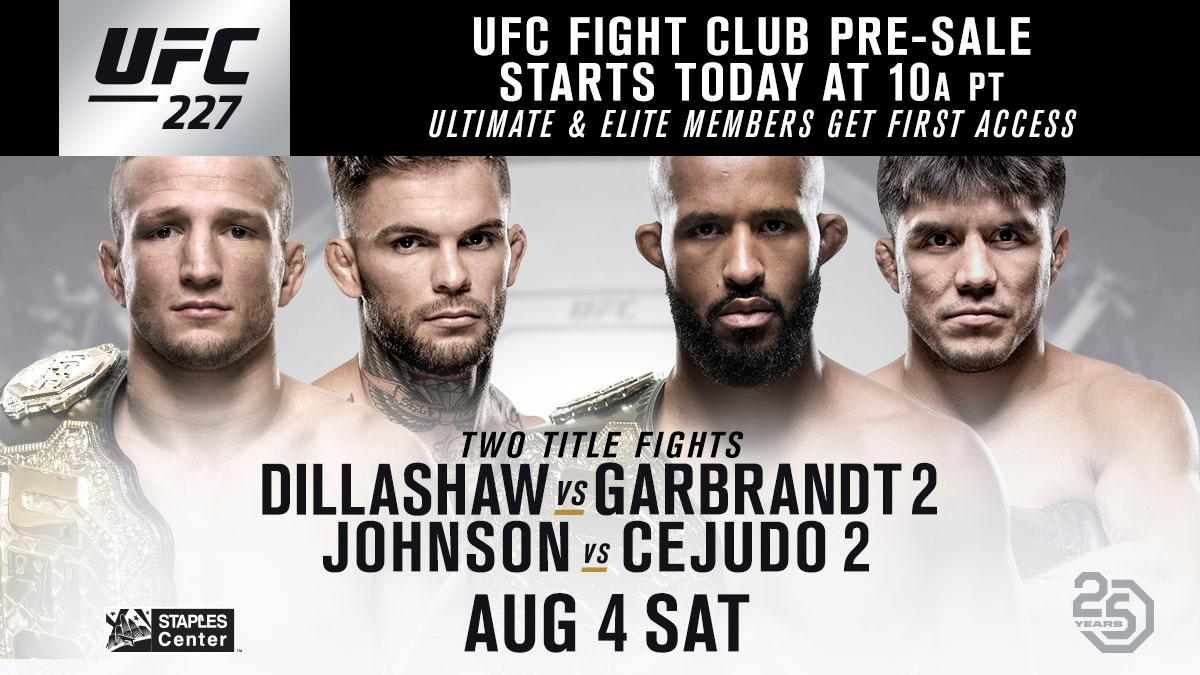 Get your seats at #UFC227 before anyone else. The @UFC Fight Club pre-sale is LIVE. 🎟 bit.ly/2y8H0tD