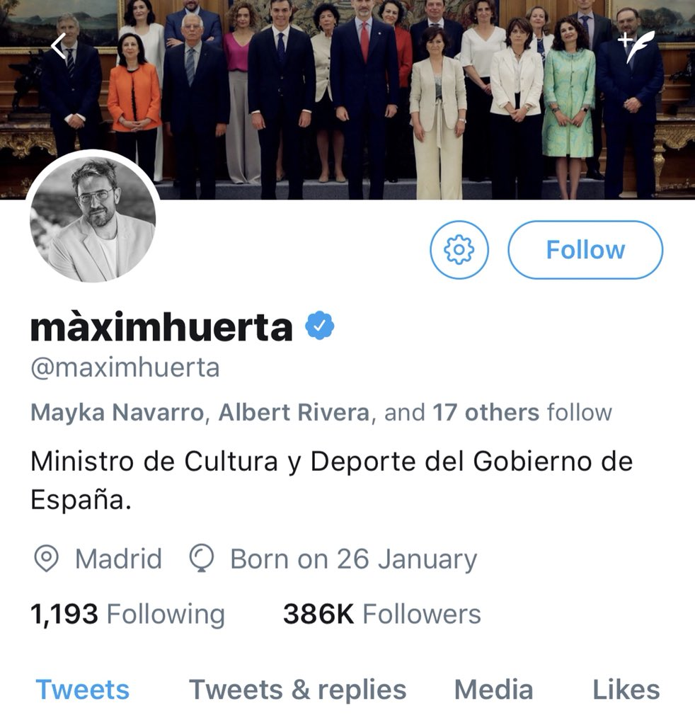 Spain's new culture minister Maxim #Huerta has resigned, only a week into the job over alleged irregular tax payments. The shortest time in office in Spainish history... He'd only just changed his twitter profile now.. <br>http://pic.twitter.com/PqcPBAokYF