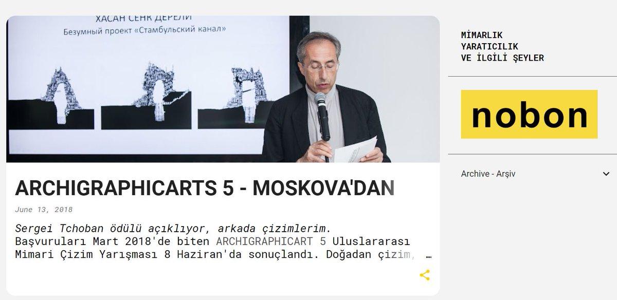 """Archigraphicarts 5 Mimari Çizim Yarışması'nda kazandığım ödülü #sergeitchoban açıklarken.  """"Mimari Fantezi"""" kategorisinde yarışan #kanalistanbul çizimlerim,  jüri özel mansiyon ödülünü aldı. Detaylar aşağıdaki bağlantıda:  http://www.hasancenkdereli.com/2018/06/archigraphicarts-5-moskovadan-odul.html…pic.twitter.com/QyprZOW6eg"""