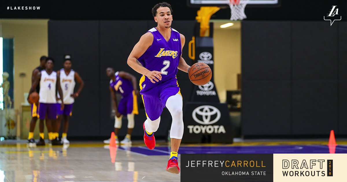 Working out for the #LakeShow today, @OSUMBB's Jeffrey Carroll https://t.co/o3IuRKOsOA